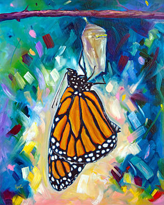 Monarch Butterfly Painting - Unfolding by Eve  Wheeler