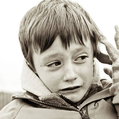 Depressed Photograph - Unhappy Boy by Tom Gowanlock