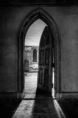 Photograph - Unhinged - Old Gothic Door In An Abandoned Castle by Gary Heller