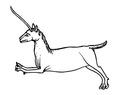 Unicorn Drawing - Unicorn, 12th Century by Granger