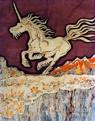 Tapestry - Textile - Unicorn Above Chasm by Carol Law Conklin