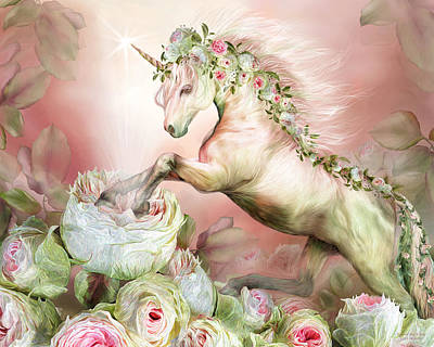 Mixed Media - Unicorn And A Rose by Carol Cavalaris