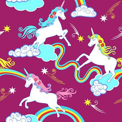 Digital Art - Unicorn Fantasy Pattern, Childrens by Dudi-art