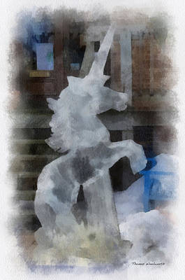 Greek Horse Digital Art - Unicorn Ice Sculpture Photo Art 01 by Thomas Woolworth