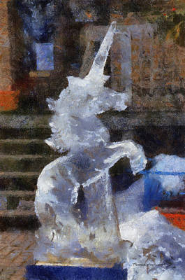 Greek Horse Digital Art - Unicorn Ice Sculpture Photo Art 02 by Thomas Woolworth