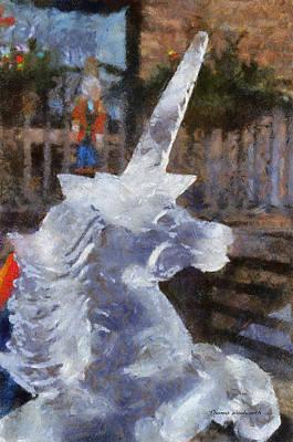 Greek Horse Digital Art - Unicorn Ice Sculpture Photo Art 06 by Thomas Woolworth