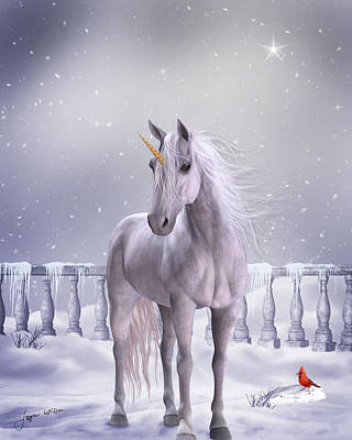 Art Print featuring the digital art Unicorn In The Snow by Jayne Wilson