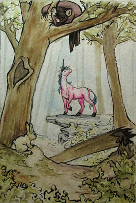 Clearing Mixed Media - Unicorn In The Woods by Andrea Walton
