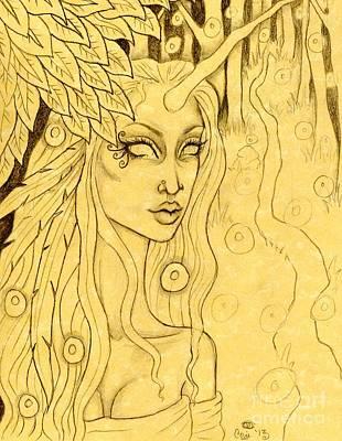 Unicorn In The Woods Sketch Art Print by Coriander  Shea