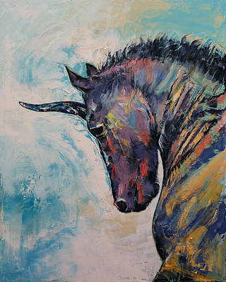 Rainbow Fantasy Art Painting - Dark Unicorn by Michael Creese