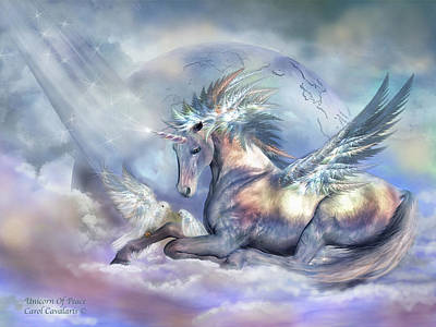 Extinct And Mythical Mixed Media - Unicorn Of Peace by Carol Cavalaris
