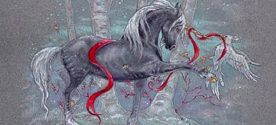 Unicorn Snow Bird Art Print by Michelle Albert