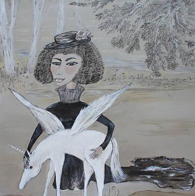 Baby Unicorn, Original Sold Art Print by Sue Wright