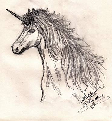 Drawing - Unicorn by Susan Turner Soulis