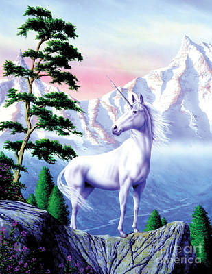 White Mountains Digital Art - Unicorn The Land That Time Forgot by Garry Walton