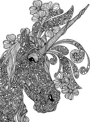 Unicorn Drawing - Unicornicopia by Valentina Harper
