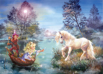 Unicorns Lake Art Print by Zorina Baldescu
