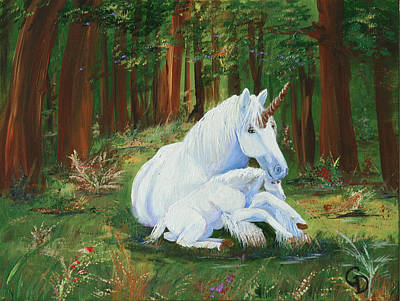 Unicorns Lap Art Print by Gail Daley
