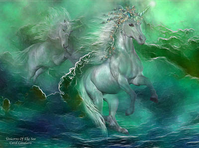 Romantic Art Mixed Media - Unicorns Of The Sea by Carol Cavalaris