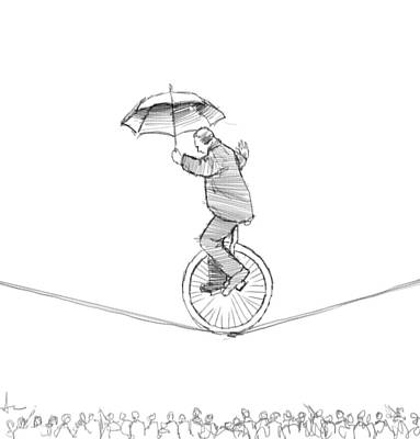 Balance Drawing - Unicycle by H James Hoff