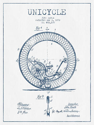 Transportation Digital Art - Unicycle Patent Drawing From 1892 - Blue Ink by Aged Pixel
