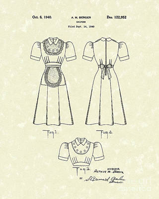 Drawing - Uniform 1940 Patent Art by Prior Art Design