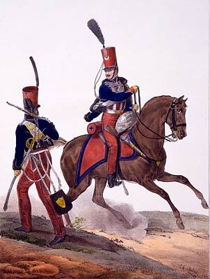 Uniforms Drawing - Uniforms Of The 5th Hussars Regiment by Charles Aubry