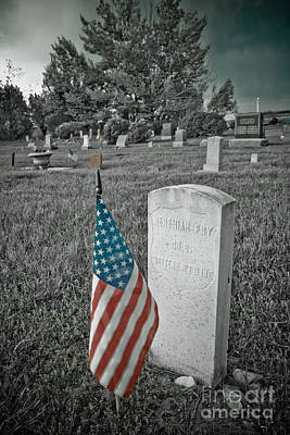 Photograph - Union Army Civil War Veteran Headstone by James BO Insogna
