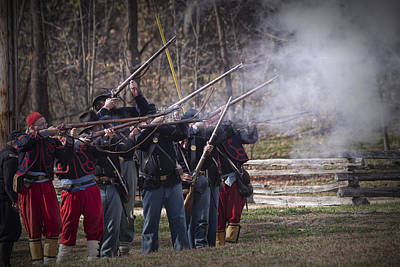 Photograph - Union Civil War Union Troop Reenactors Shooting With Muskets by Randall Nyhof
