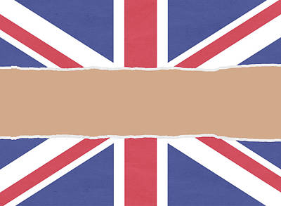 Union Flag Wrapping Paper Torn Through The Centre Art Print by Steve Ball