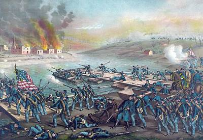 Civil Painting - Union Forces Under Burnside Crossing The Rappahannock by American School