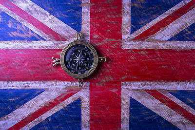 Path In Life Photograph - Union Jack And Compass by Garry Gay