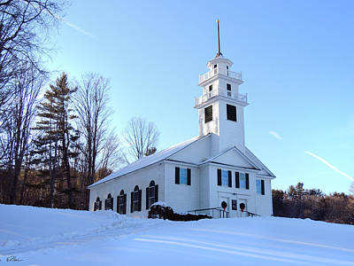 Photograph - Union Meeting House In West Newbury Vermont by Nancy Griswold