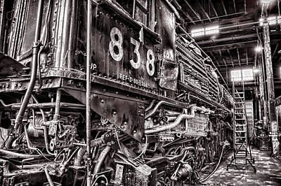 Engine House Photograph - Union Pacific 838 In The Roundhouse by Ken Smith
