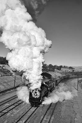 Photograph - Union Pacific 844 Morning Plume Black And White by Ken Smith