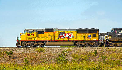 Photograph - Union Pacific American Flag by Charles Beeler