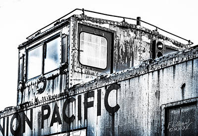 Old Caboose Photograph - Union Pacific Caboose - Monochrome by F Leblanc