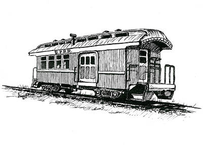 Drawing - Union Pacific Combine Car by Sam Sidders