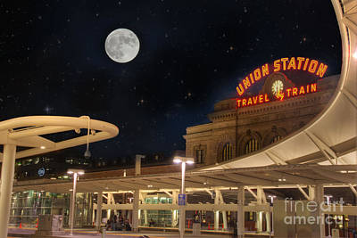 Union Station Denver Under A Full Moon Art Print by Juli Scalzi