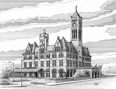 Drawing - Union Station In Nashville Tn by Janet King