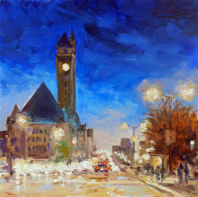 Evening Lights Painting - Union Station Market Street Saint Louis by Irek Szelag