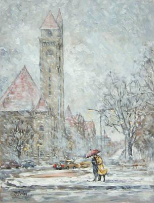 Downtown Painting - Union Station - Saint Louis Winter by Irek Szelag