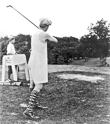 Photograph - Union Suit Golfer by Underwood Archives
