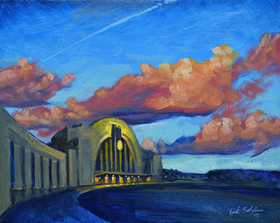 Union Terminal Building Sunset Original