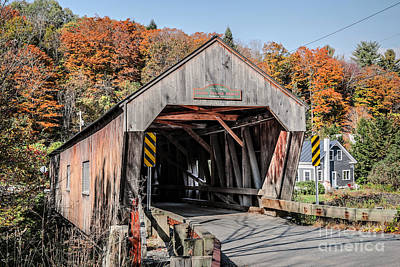 Covered Bridge Photograph - Union Village Covered Bridge Thetford Vermont by Edward Fielding