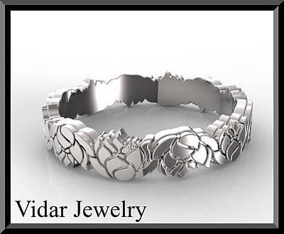 14k Jewelry - Unique 14kt White Gold Lotus Flower Woman Wedding Ring by Roi Avidar