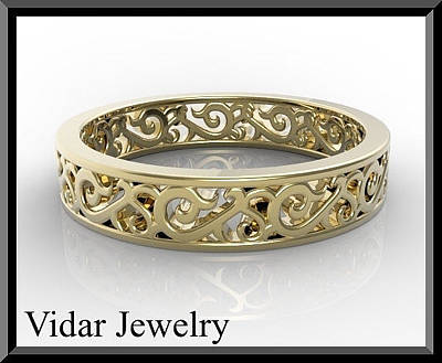 14k Jewelry - Unique 14kt Yellow Gold Woman Wedding Ring by Roi Avidar