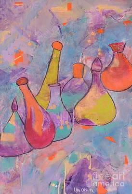 Art Print featuring the painting Unique Bottles by Lyn Olsen