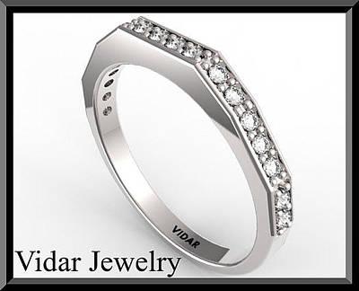Custom Engagement Ring Jewelry - Unique Diamond Half Eternity 14k White Gold Woman Wedding Ring by Roi Avidar