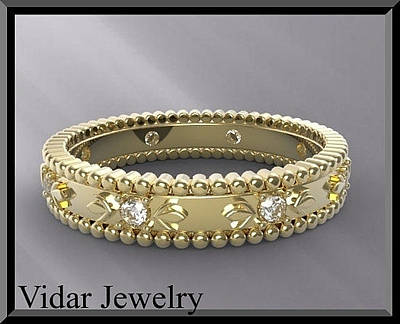 14k Jewelry - Unique Floral 14kt Yellow Gold And Diamond Woman Wedding Ring by Roi Avidar